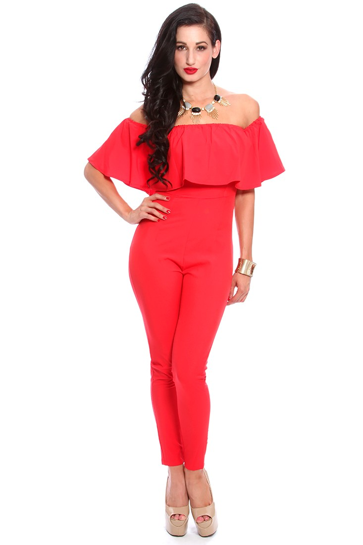 Red Ruffle Off Shoulder Sleeves Jumpsuit Outfit