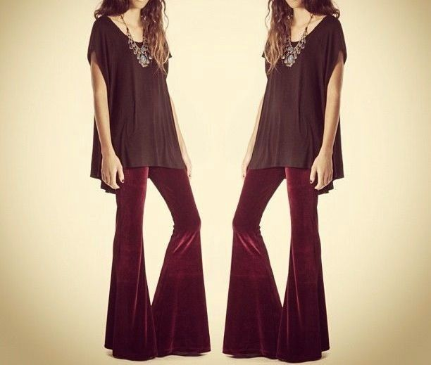 S Burgundy Wine Soft Velvet Elastic Waist Full Length Flare Bell Bottom Pants