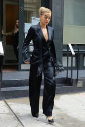 pants,blazer,suit,all black everything,pumps,rita ora,satin