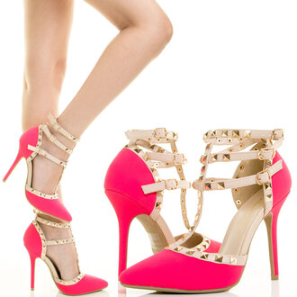 shoes high heel sandals pink heels valentino high heels