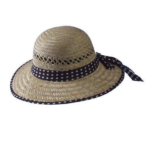 Ladies Small Brim Garden Beach Hat with Polka Dot Edge & Hat Band Item THC-13100