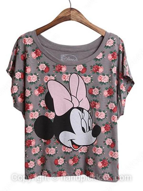 t-shirt floral print top floral tank top floral t shirt mickey mouse micky mouse shirt mickymouse pink