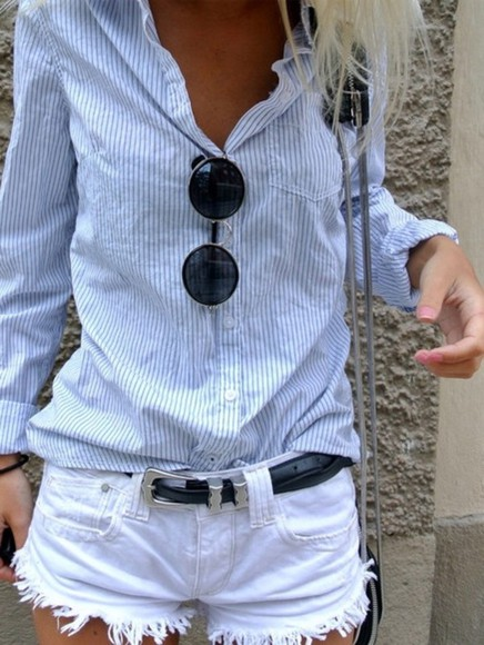 blue and white striped shirt button up shirt white shorts sunglasses cut off shorts