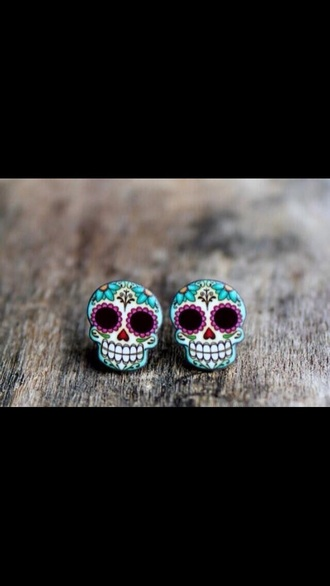 earrings skull ear plug