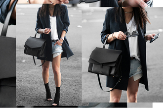 theversastyle blogger bag jacket t-shirt shorts shoes sunglasses sock boots handbag blazer denim shorts white t-shirt