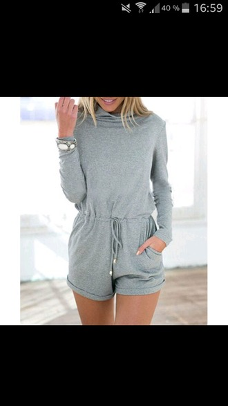 jumpsuit romper grey sweater grey fashion fall outfits fall sweater fall romper back to school casual long sleeves dope swag zaful hipster streetwear