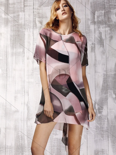 Sweet Short Sleeve Color Block Print Asymmetric Women's Dress