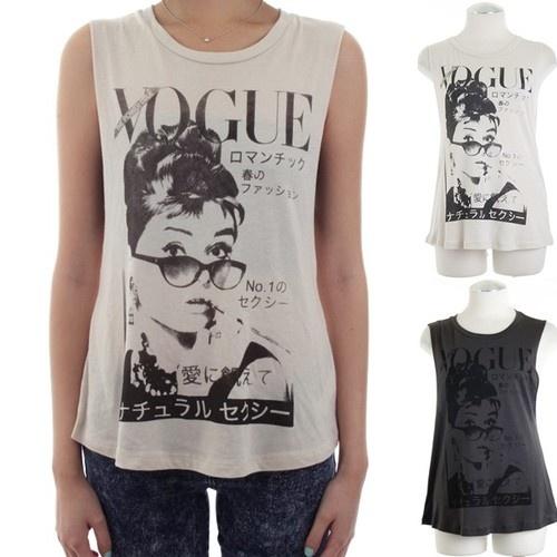 Audrey Hepburn/VOGUE Printed Muscle Tee Tank Top  ...   my eBay items