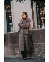 coat,long coat,oversized coat,checkered,black pants,wide-leg pants,ankle boots,black skirt