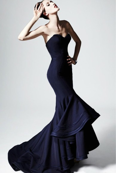 navy mermaid dress strapless mermaid dress