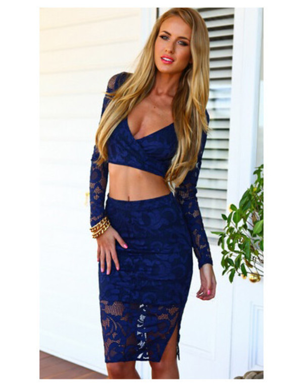 wow set long sleeves evening outfits day night dress top crop tops tank top skirt lace skirt