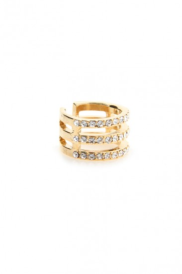 LoveMelrose.com From Harry & Molly | Three Layer Diamond Knuckle Ring - Gold