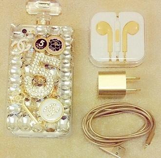 phone cover cute earphones gold technology