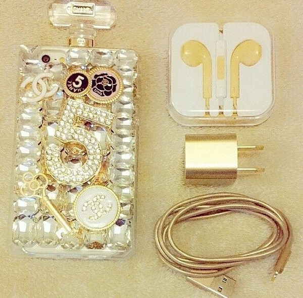 phone cover cute earphones gold technology