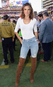 top,boots,over the knee boots,alessandra ambrosio,bodysuit,jeans,white top,white,shoes
