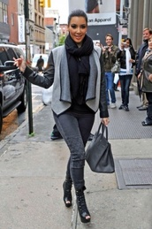 jacket,grey,leather sleeves,waterfall jacket,shoes,jeans
