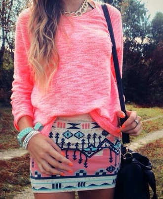 skirt jewels blouse pink tribal short pink aztec shirt pencil skirt pattern pink black tribal pattern t-shirt coat sweater pink tribal style top cute i want the sweater pretty fashion aztec tribal print skirt hot pink top aztec skirt aztec tribal print