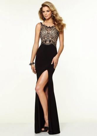 dress black gold lace slit prom