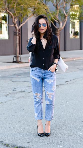 the fancy pants report blogger shirt shoes jeans jacket sunglasses