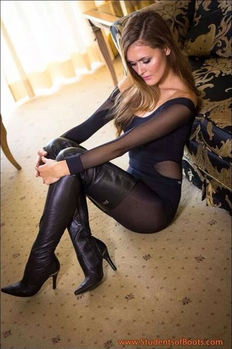 shoes black leather boots nylons pantyhose stockings sexy thigh-high boots