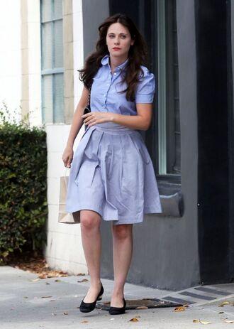 shirt shoes skirt zooey deschanel
