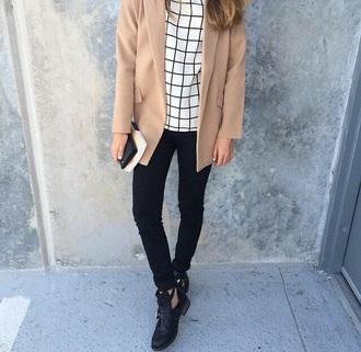 top white black tartan jacket jeans shoes coat