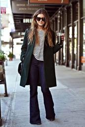 le fashion,blogger,jeans,sunglasses,coat,t-shirt,flared jeans,dark denim,dark jeans,denim,flare pants,flare,70s jeans,70s style,shirt,flare jeans