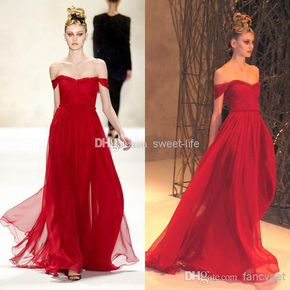 model off the shoulder dress elegant long dress runway chiffon dress dress party dress red dress homecoming dress prom dresses /graduation dress .party dress evening dress formal dress