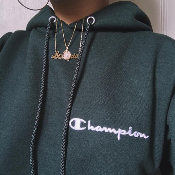 Sweater: champion hoodie, green, champion - Wheretoget