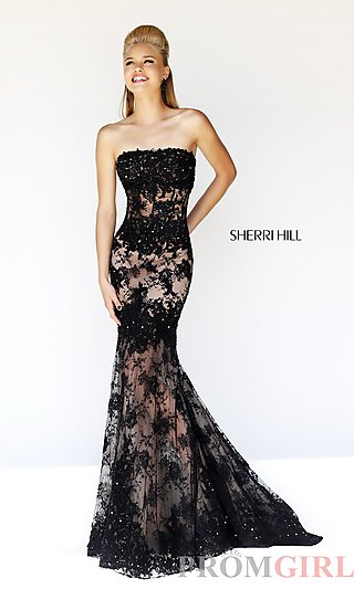 Prom Dresses, Celebrity Dresses, Sexy Evening Gowns - PromGirl: Long Strapless Lace Formal Gown