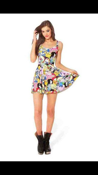 cute cartoon adventure time dress cute dress red yellow