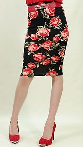 Rose floral print straight pencil knee high skirt