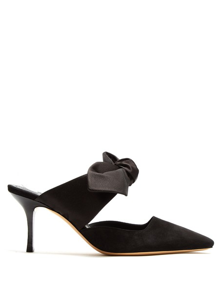 bow mules suede satin black shoes