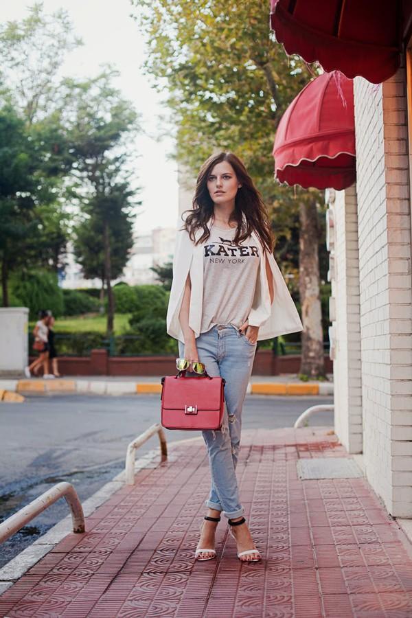 the bow-tie blogger jacket jeans t-shirt sunglasses shoes bag