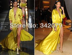 ph02190 robe jaune robe de satin à fente de style gothique victorien rihanna 2014 robes robes de bal robe de dans de sur Aliexpress.com