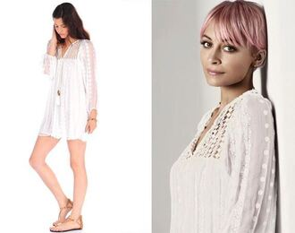 dress white white dress boho dress nicole richie