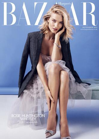 dress gown strapless rosie huntington-whiteley editorial pumps blazer prom dress jacket