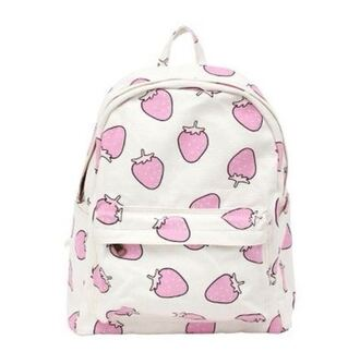bag strawberry backpack small bag pink white pastel pink pastel kawaii cute