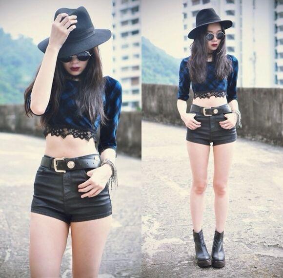 round sunglasses grunge shoes crop tops grunge top fedora shorts