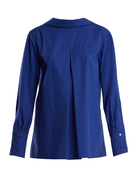 MARNI top pleated high cotton blue