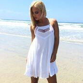 dress,white,shift dress,scoop neck line,lace