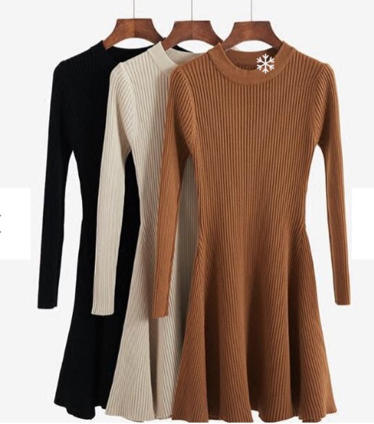 dress girly knit knitted dress brown black dress black nude long sleeves long sleeve dress skater dress
