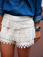 lace shorts,shorts,lace