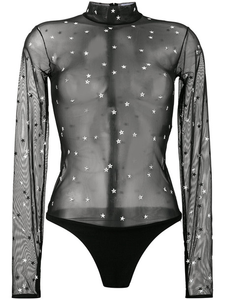 MUGLER bodysuit women embellished black underwear