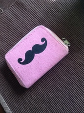 bag,mustache wallet