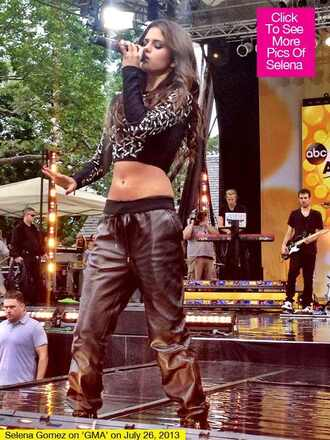 pants selena gomez leather pants crop tops black crop top black