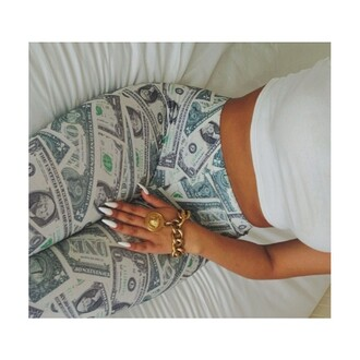 leggings green money print money leggings
