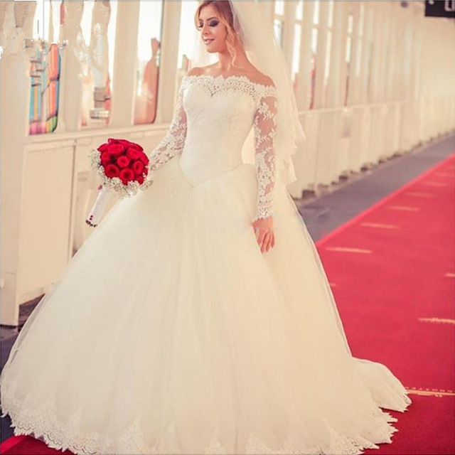 Aliexpress.com : Buy Charming Ball Gown Long Sleeves Wedding Dresses 2016 Sexy Off Shoulder Court Train Lace Robe de mariage Plus Size Bridal Gowns from Reliable lace sarong suppliers on Irisdress