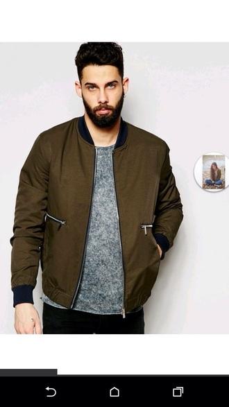 jacket asos khaki green menswear guys boyfriend style stylish cool trendy army green jacket khaki bomber jacket bomber jacket