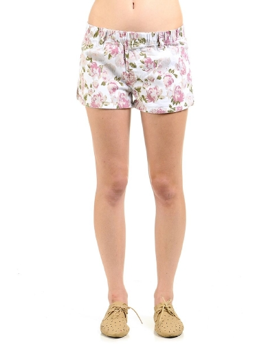 White flowers marguerite floral print shorts
